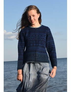 T-613 FF SHORT WOOL CARDIGAN WITH LUCK SYMBOLS