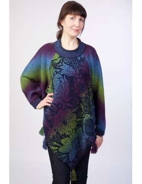 T-504 EFL WOOL PONCHO WITH...