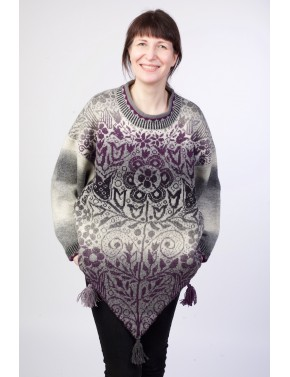 T-581 EHA WOOL PONCHO WITH...