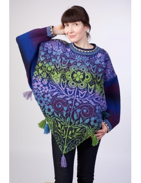 T-581 EL WOOL PONCHO WITH...