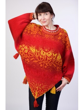 T-581 EME WOOL PONCHO WITH...