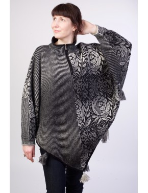 T-584 EHA WOOL PONCHO WITH...